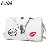 Bolish Brand New Korean Embroidery Lock Small Lipstick Simple Shoulder Bag Chain Strap Messenger Bag Fashion