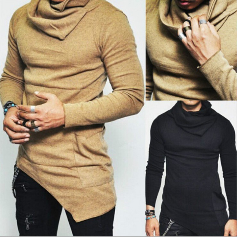 2019 Men's High-necked Sweaters Irregular Design Top Male Sweater Solid Color Mens Casual Sweater Pullover Sweaters For Mens image