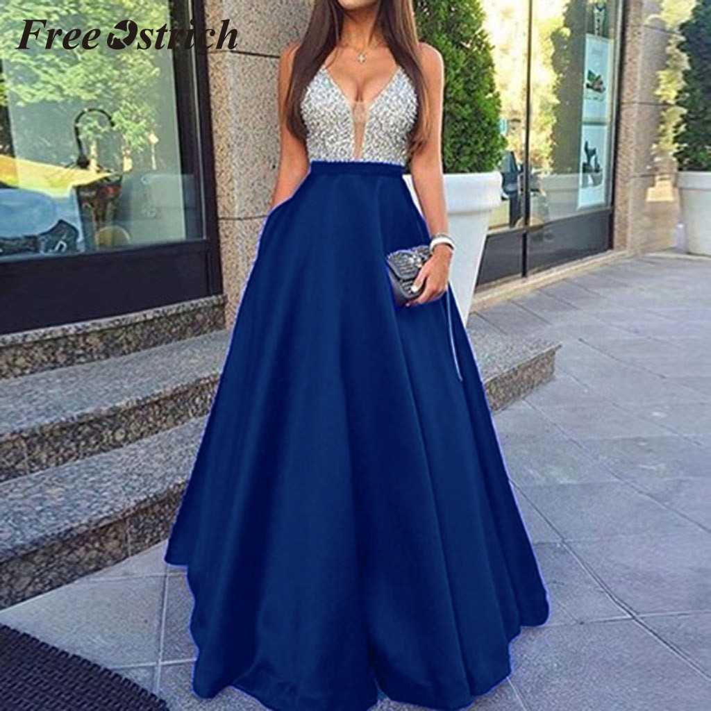Free Ostrich 2019 Women Sleeveless Deep V Neck Elegant Party Evening Slim Maxi Dresses Sequined Hot Sales Dress