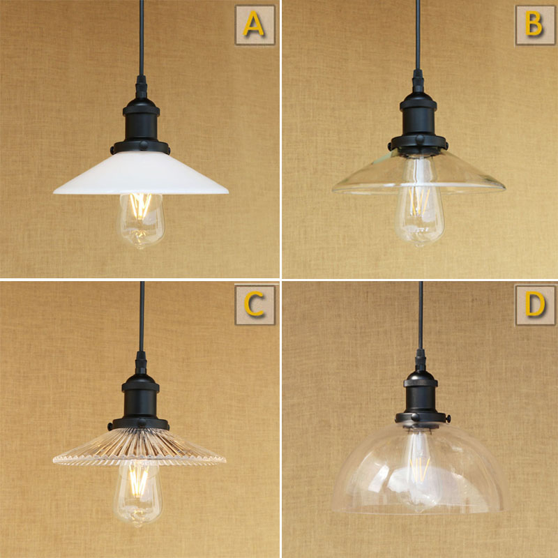 2 pcs American Country Style Vintage Pendant Light Glass shade Pendant Lamp Cafe Bar Creative LED Lamps Art Deco Lighting