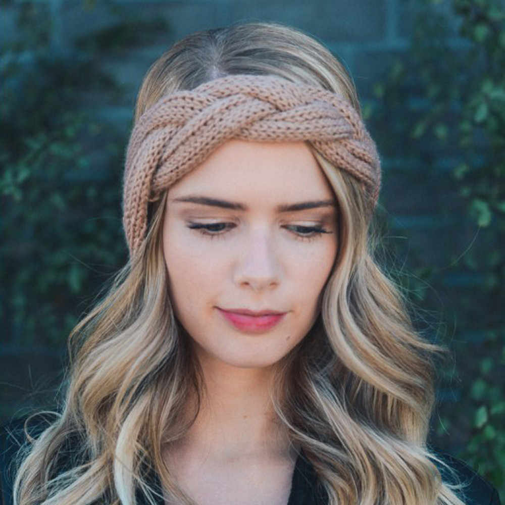 1 Uds. Cinta para la cabeza para mujer, cinta para el pelo tejida con lazo de ganchillo ancho, anudado turbante, diademas más cálidas