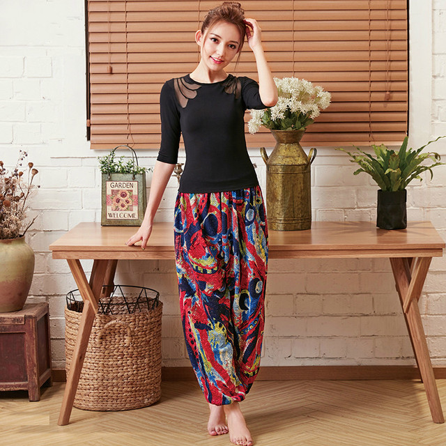 2018 New Wide Leg Yoga Pants Women Indian Yoga Trousers