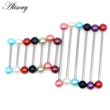 Alisouy 1PC Stainless Steel jewelry fake Pearls Earrings Industrial Piercing Barbell Ear Body Jewelry tragus piercing septum