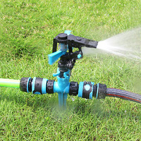 Automatic 360 Degree Rotary Nozzle Double Water Supply Spray Head Garden Lawn Sprinkler Irrigation Watering For