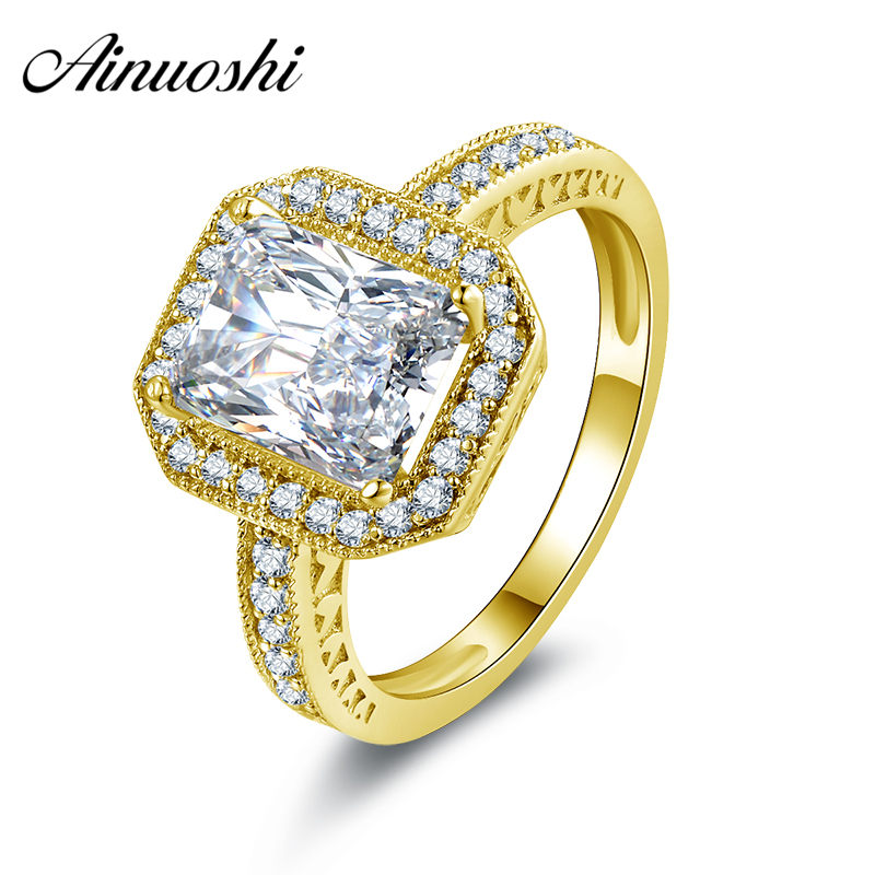 AINUOSHI 10k Solid Yellow Gold Women Engagement Ring 2.5 ct Rectangle Cut Joyas de oro Simulated Diamond Halo Band Bridal Rings