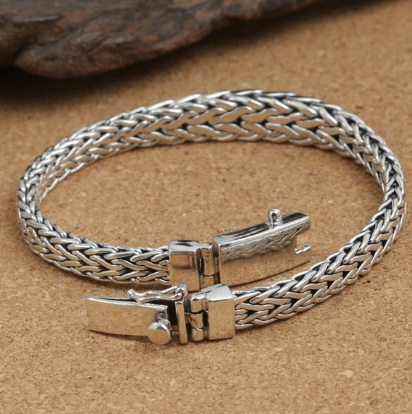 925 Sterling Silver Fashion Jewelry Retro Thai Men Weave Rope Bracelet Convenient