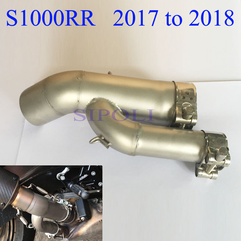 <font><b>S1000RR</b></font> Motorcycle <font><b>Exhaust</b></font> Pipe Middle Link Bend Tube Slip On For BMW <font><b>S1000RR</b></font> <font><b>2017</b></font> <font><b>2018</b></font> Years Without Muffler image