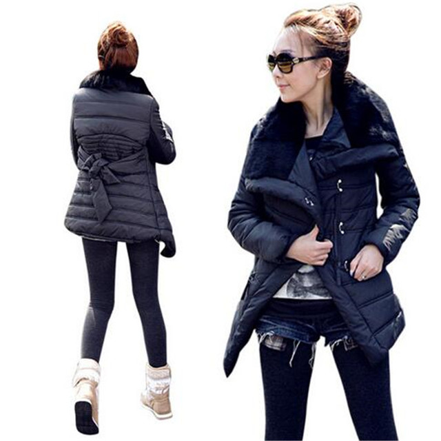 2016 Nova Moda Inverno Pele De Coelho Grande Lapela Amassado Outerwear Jaqueta Projeto de Médio-Longo das Mulheres de Algodão-Acolchoado jaqueta Casaco