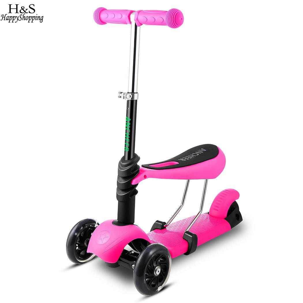 3 Wheels Triciclo Kick Scooter Kids Scooters 5 Colors Foot Scooters with Adjustable Handle T-Bar&Seat Children's Scooter folding kick scooters foot scooters children best birthday gift with flash pu wheels free shipping