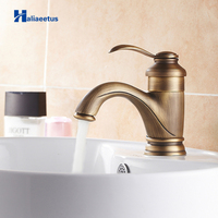 Antique Brass Classical Bathroom Basin Faucet Sink Mixer Tap Deck Mounted Faucet Hot and Cold Water Faucet Lavatory Faucet