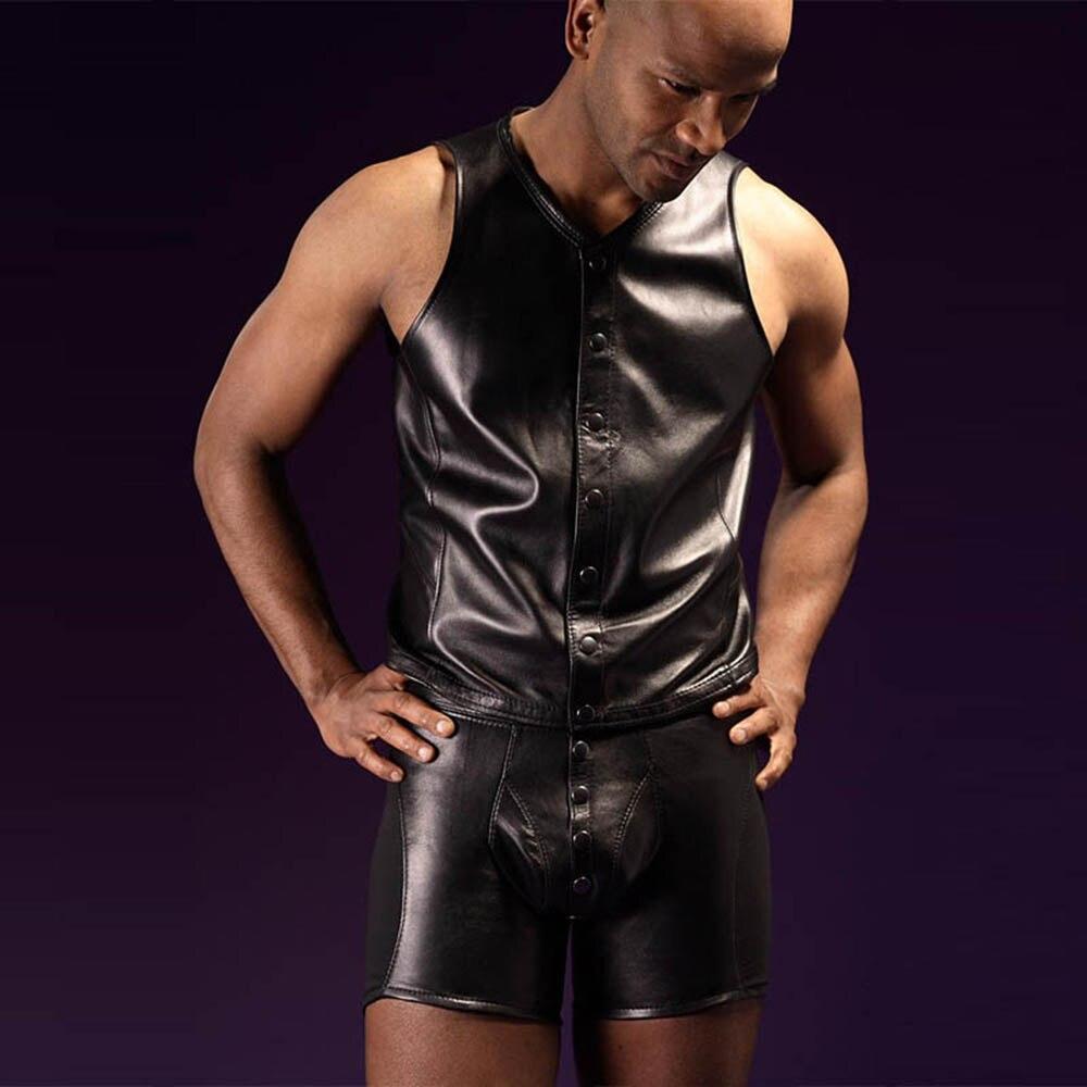 Мужские короткие шорты из винила латекса кожи