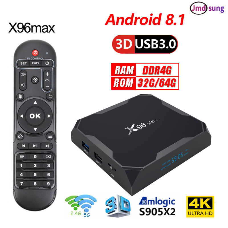 2019x96 max tv box Android 8,1 4 Гб DDR4 Ram 64 GB 4 k Smart tv box x96max Amlogic s905x2 4 ядра двойной WI-FI PK Mi box Коробка HTV 5