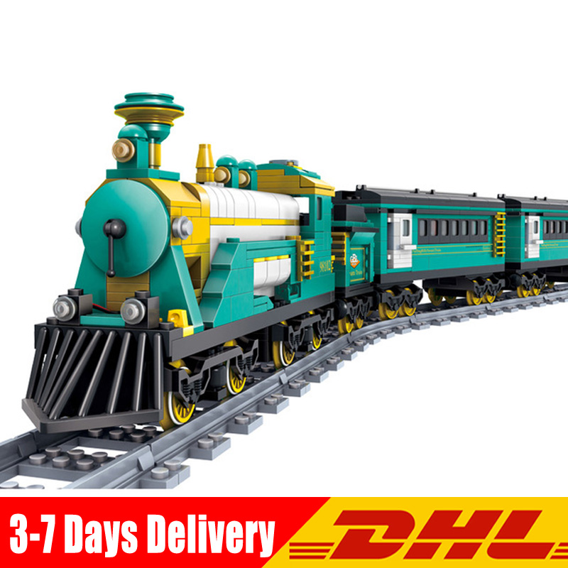 KAZI 98102 851 Pcs Battery Powered Electric Puffingbilly Car Steam Train Building Blocks Bricks Model Toys for Children Gifts