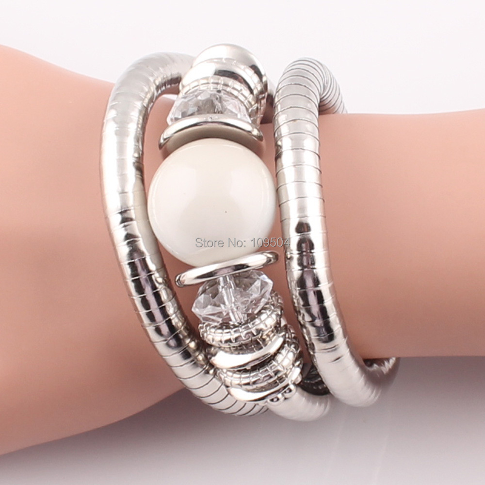 Natural Stone Beads Charms Snake Bracelet Pearl Adjustable Bangle