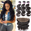 Peruvian Virgin Hair With Frontal Cheap Lace Frontal With Bundles 100 Human Hair With Closure Peruvian Body Wave With Frontal