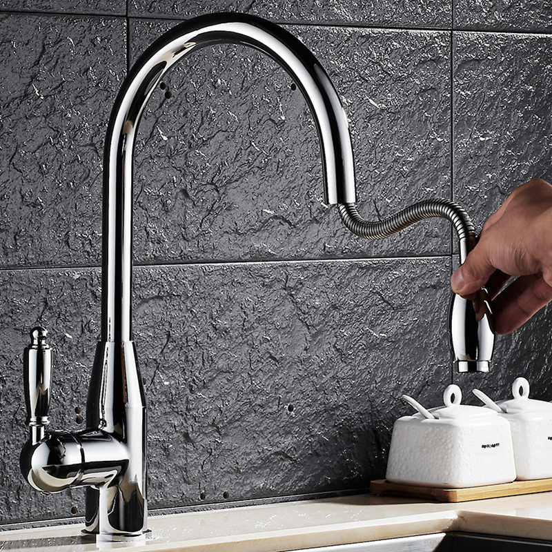 Kitchen Faucet Chrome Swivel 360 Degree Water Kitchen Faucet Brass Pull Out Single Handle Sink Hot Cold Water Mixer