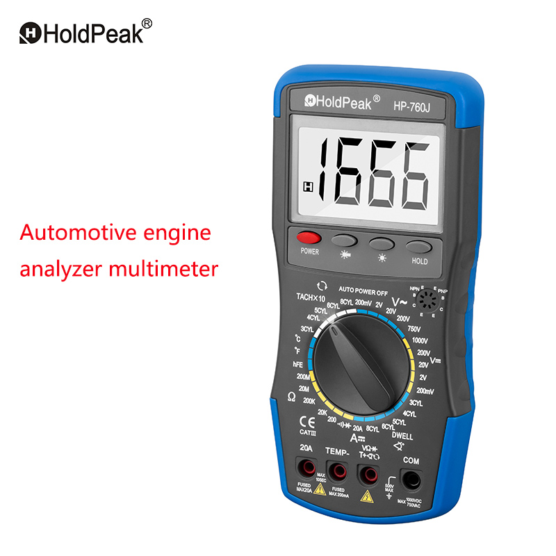 HoldPeak HP-760J rango Manual DC AC voltaje amperios multímetro Digital medidor automóvil motor Analizador de resistencia probador
