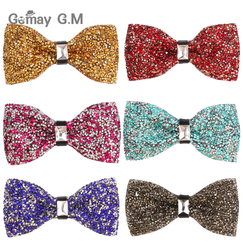 New Luxury Diamond Bow ties For Men Crystal Gem Bowties Fashion Wedding Party Accessories gravatas Neckwear Banquet Male Bow Tie