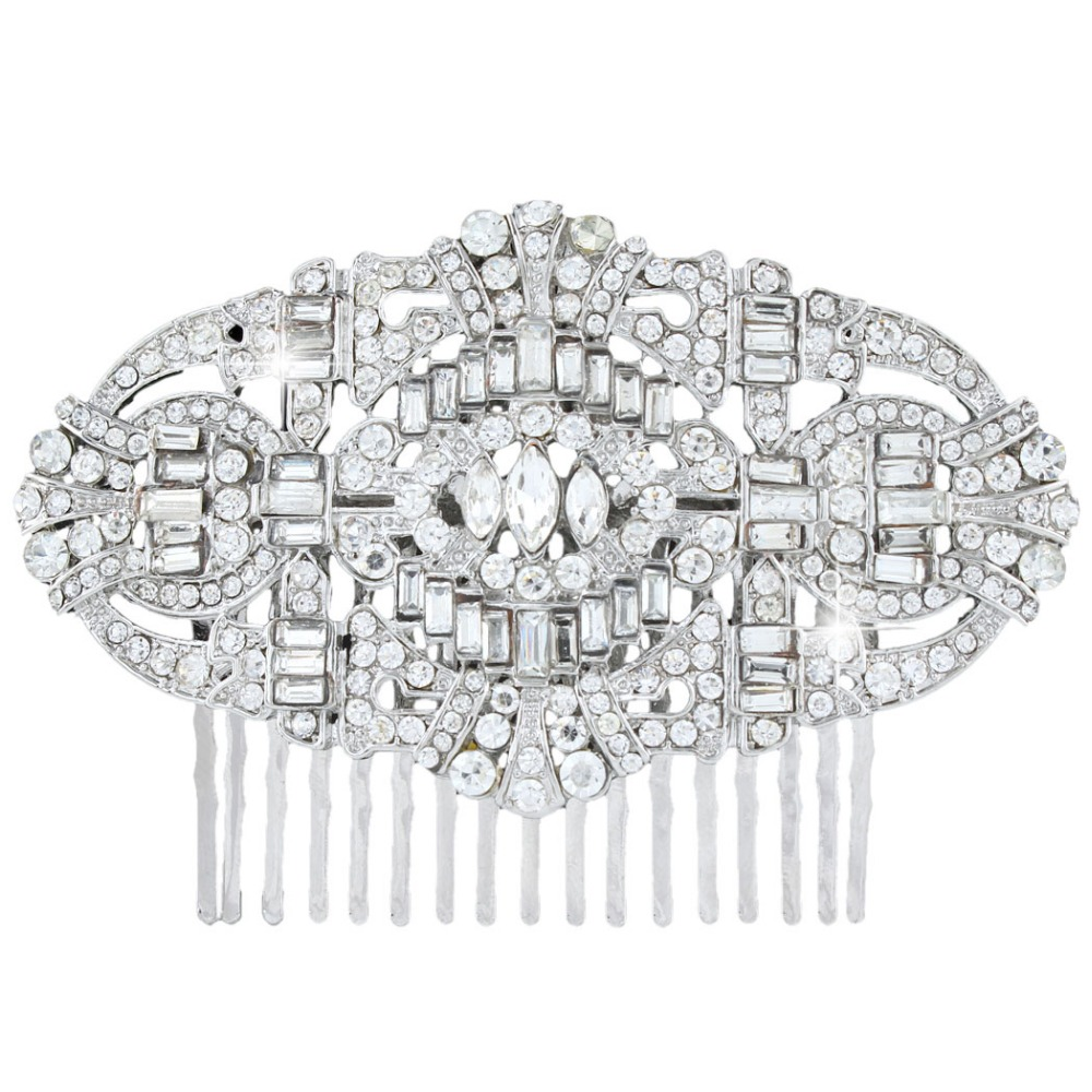 BELLA The Great Gatsby Inspired Silver Plated Flower Hair Comb Clear Austrian Crystal Headpieces Wedding Accessories