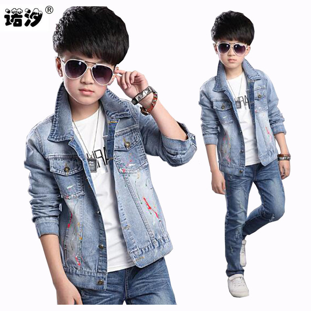 02dea4c89 5-17 Y Baby boys Jeans Jacket Children Fashion Denim Solid Full Sleeve  Outerwear Kids Boys Spring Autumn Coat baby jean jacket