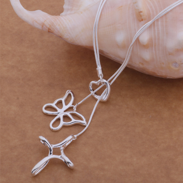 a720650147479 AN486 Trendy wholesale silver Necklace, 925 silver fashion jewelry Tai chi  butterfly  buzakmga bujaklqa