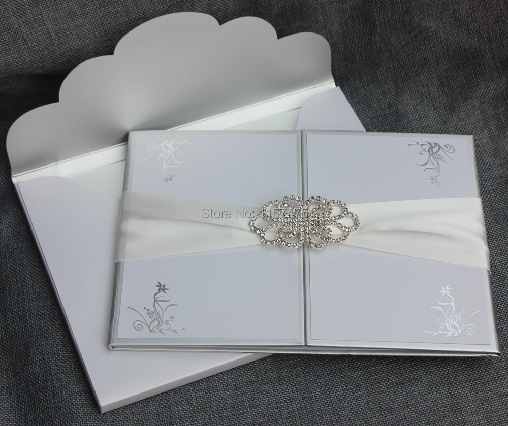 hi1109 elegant white hard cover wedding invitation card