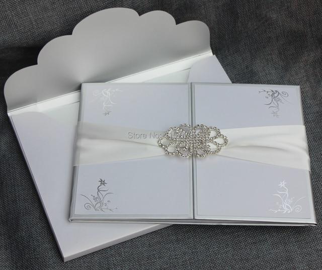 Preferred HI1109 Elegant White Hard Cover Wedding Invitation Card with  NJ48