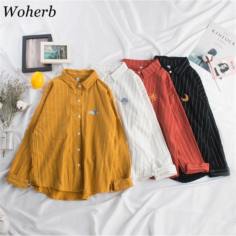 Woherb 2019 Women Kawaii Striped   Blouse   Moon Embroidery Korean Ladies Tops Blusas Casual Batwing Sleeve Linen   Shirt   20824