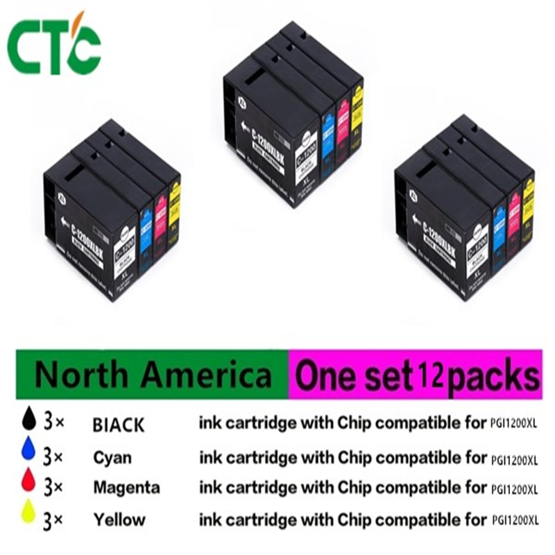 12PK New High-Yield Cyan ink Cartridges with Chipa Compatible For Canon PGI1200 XL PGI-1200 MAXITY MB2020 MB2320,4PACK 1 LOT