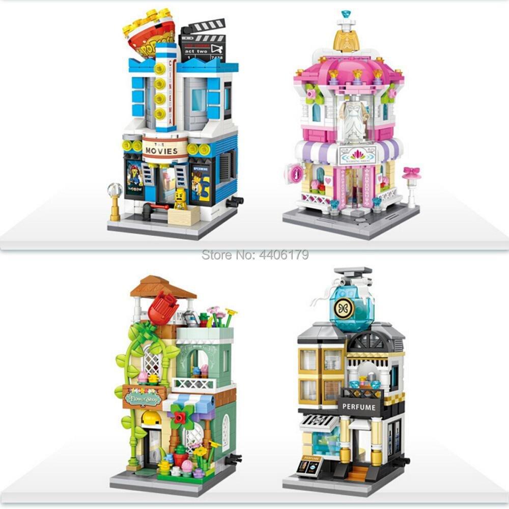 hot LegoINGlys city creators Street view perfume flowers wedding dress cinema store micro diamond building block brick toys gift