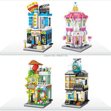 hot LegoINGlys city creators Street view perfume flowers wedding dress cinema store micro diamond building block brick toys gift