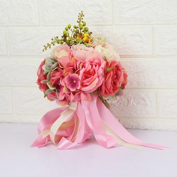 Piwonia bukiet ślubny jedwabne kwiaty ślubne rumieniec kwiaty ślubne fioletowy ślub bukiet ślubny akcesoria ślubne tanie i dobre opinie 30cm 25cm Poliester WHITNEY·WANG B2019001 0 5kg
