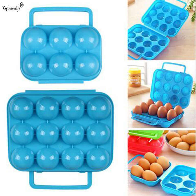 Keythemelife 6/12 Portable Kitchen Eggs Storage Box Plastic  Picnic Egg Container kitchen Refrigerator Egg Kitchen Gadgets D4