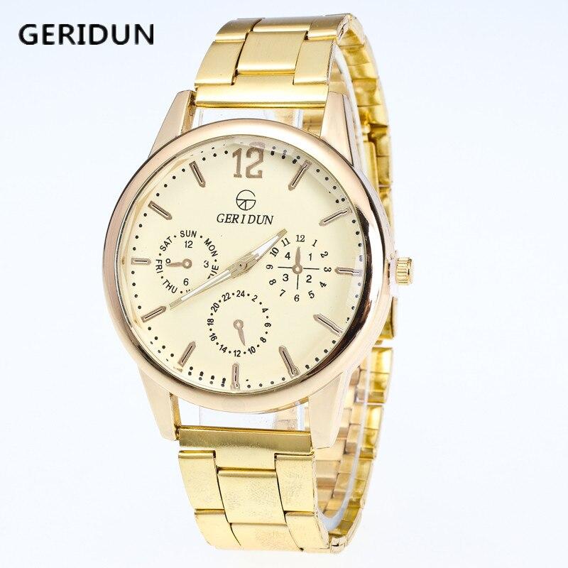GERIDUN Creative Luxury Fashion Gold Strap Watch Meeste Quartz Watch Casual Meeste Sport Business randmeeste Watch relogio masculino