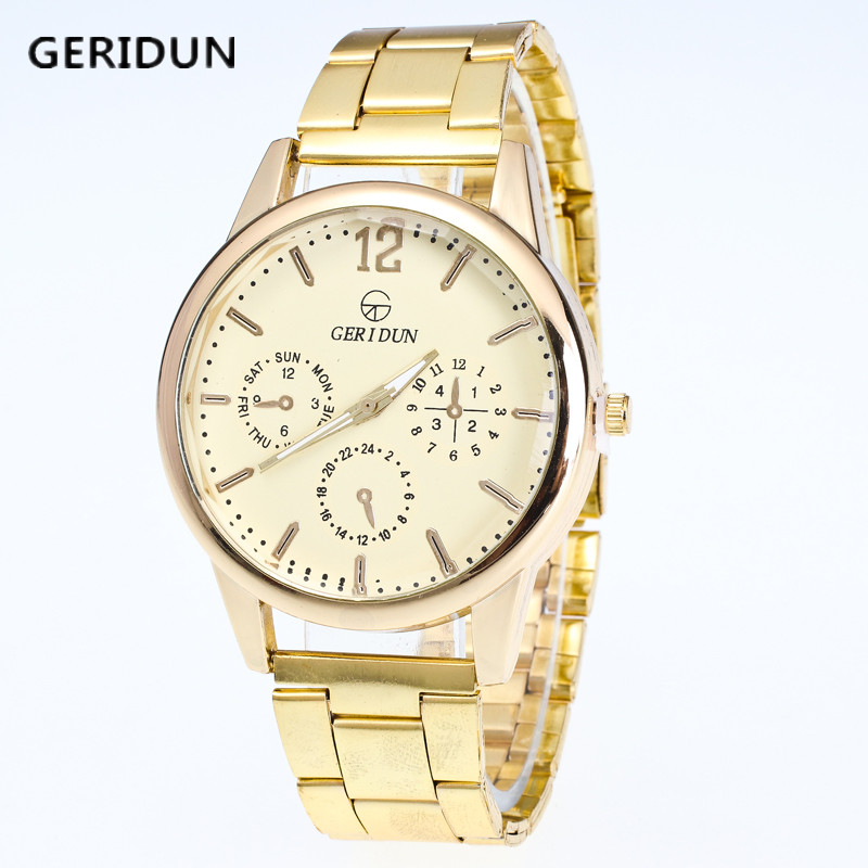GERIDUN Creative Luxury Fashion Gold Strap font b Watch b font font b Men b font