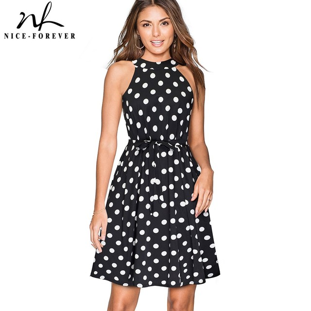 Nice-forever Vintage Polka Floral Printed Causal vestidos A-Line Pinup Business Party Summer Women Shift Flare Dress A096