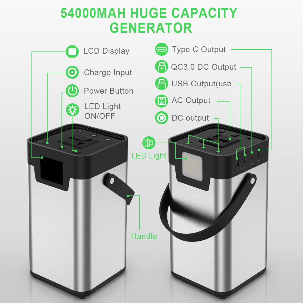 200Wh/54000mAh Portable Power Station 110V 220V AC Power Bank Solar Generator UPS Battery Charge for Car Cooler Drone Laptop etc
