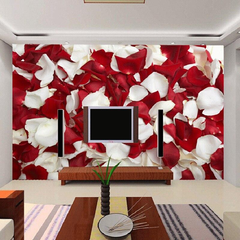 Online get cheap live rose petals for Red flower wallpaper living room