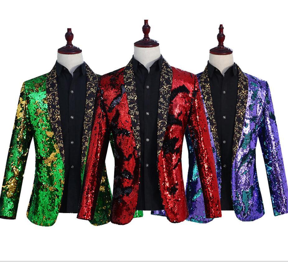 สีสันสดใสเสื้อแจ็คเก็ต blazer ชายทองสีเขียวชุดงานแต่งงานเจ้าบ่าวแฟชั่นชุดสีม่วง singer black party stage-ใน แจ็กเก็ต จาก เสื้อผ้าผู้ชาย บน   1