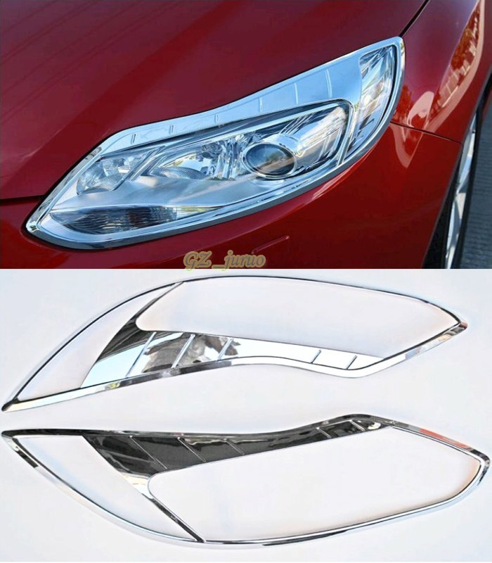 2pcs ABS Chrome Headlight Lamp Cover Decoration Trim For Ford Focus 3 2012 2013 Automotive accessories