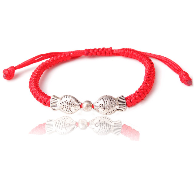 Fish Charm Tibetan Budist Luck Knot Waterproof Pull Cord Macrame Surf Bracelet Red String Kabbalah Friendship