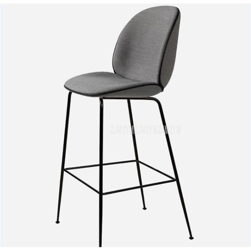 Fashion Modern Bar Counter Chair Gold/Black 4 Legs Iron High Footstool Fabric Sponge Soft Seat Cushion Barstool With Backrest tickle barstool black