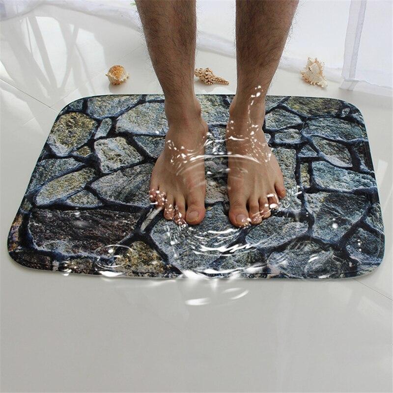 Honlaker 3d Hill Stone Bath Mat Bathroom Door Water Absorbing