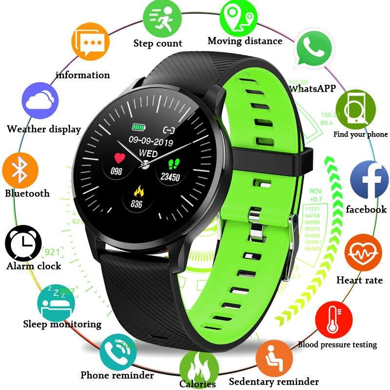 LIGE 2019 pulsera deportiva inteligente para hombre reloj de pulsera inteligente de presión arterial Monitor de ritmo cardíaco rastreador de actividad IP67 podómetro resistente al agua