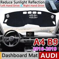 Para Audi A4 B9 2016 ~ 2019 Anti-UV 8 W Anti-Slip Mat Pad Cover Dashboard Sun Sombra Dashmat mat traço Tampa Acessórios Do Tapete S-line