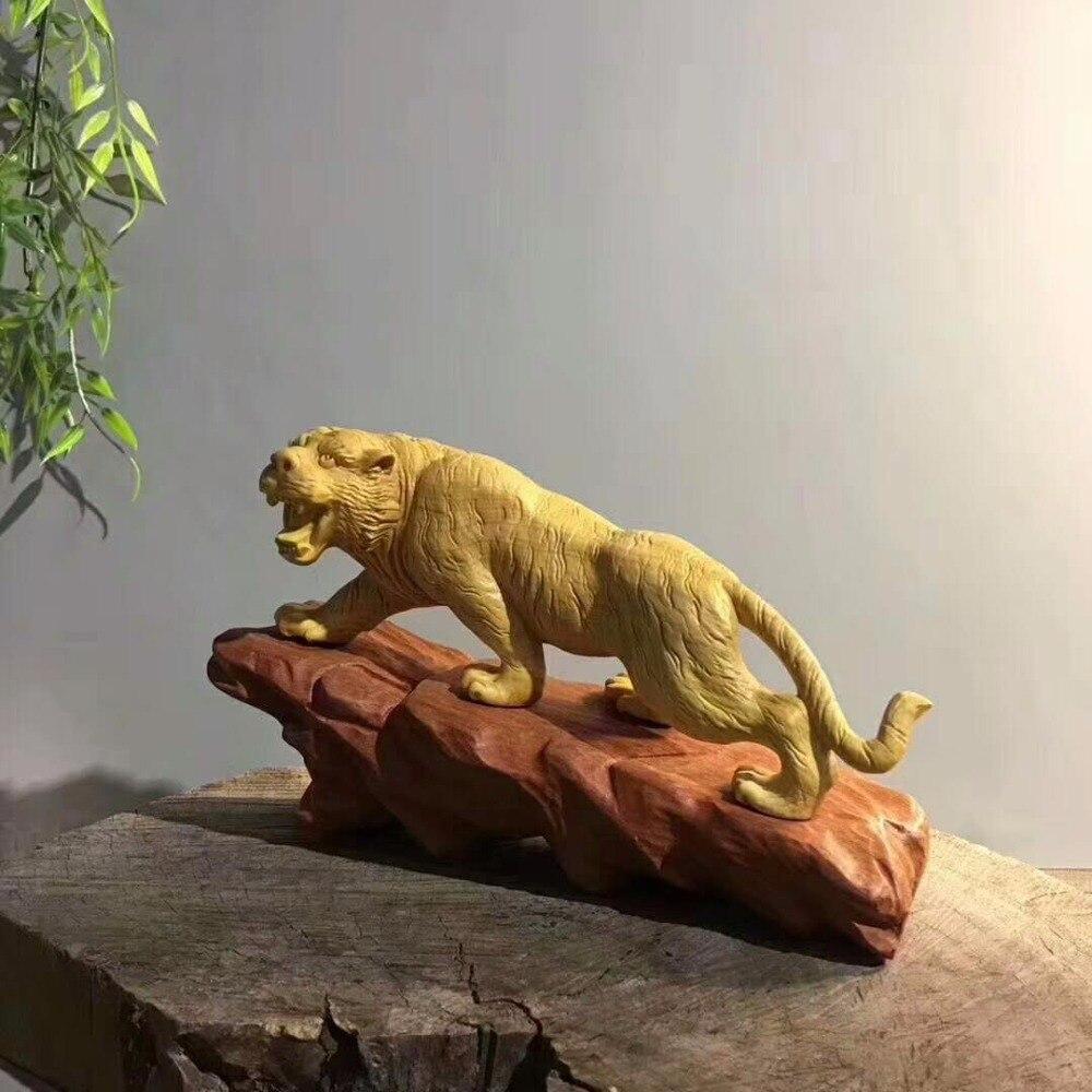 Buis sculpture sur bois artisanat bois tigre tigre animal décoration feng shui ornements cadeaux créatifs.