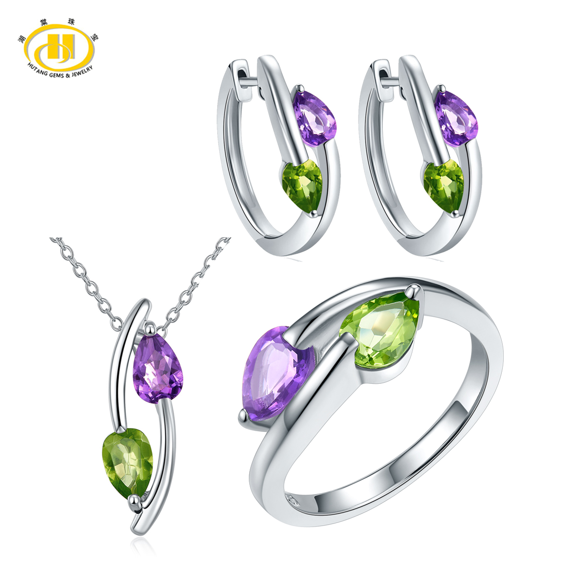 Hutang Natural Peridot & Amethyst Jewelry Sets For Women Solid 925 Sterling  Silver Gemstone Jewelry Pendant Ring Earrings 2017