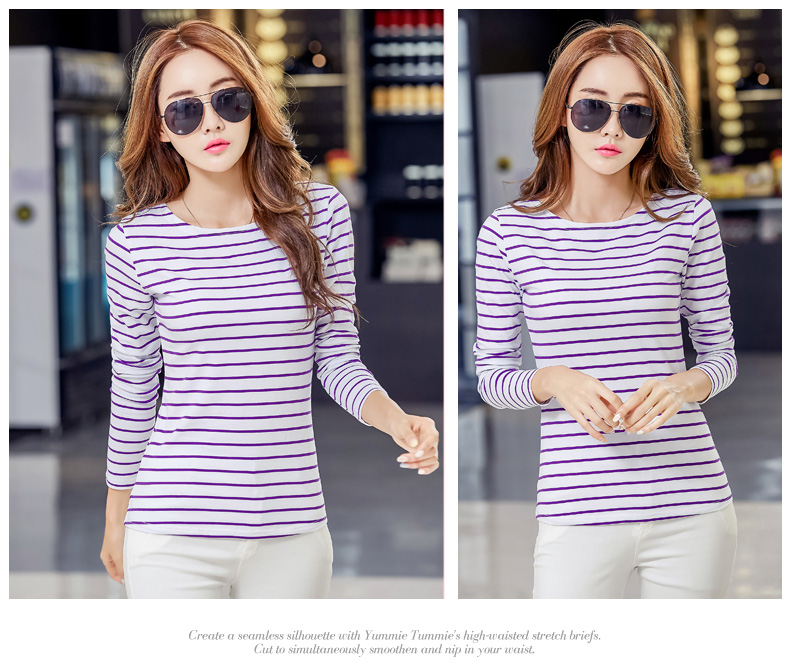 HTB1Fk5EhBmWBuNkSndVq6AsApXaw - Soperwillton Cotton T-shirt Women New Autumn Long Sleeve O-Neck Striped Female T-Shirt White Casual Basic Classic Tops #620