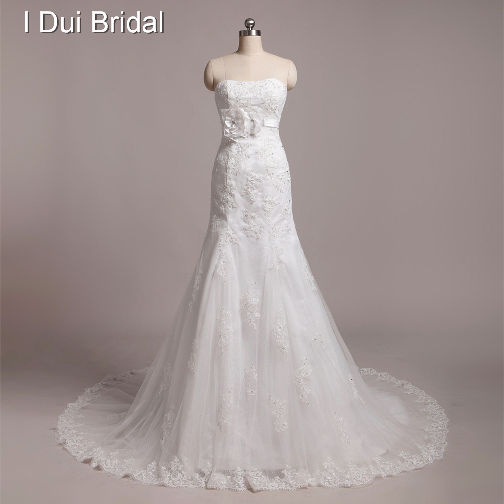 Dot Tulle Lace Appliqued High Quality Real Photo Wedding Dresses Custom Make Strapless Handmade Flower