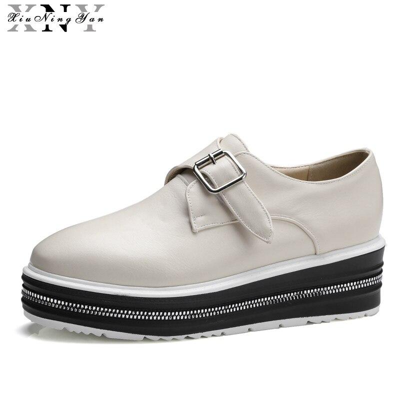 De alta Calidad de Las Mujeres Oxfords Pisos Zapatos de Moda Plataforma de Cuero